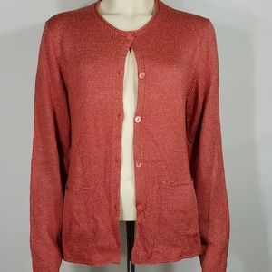coral salmon pink button up silk blend cardigan L